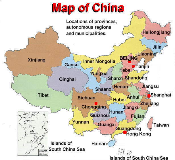 china map with administrative divisions