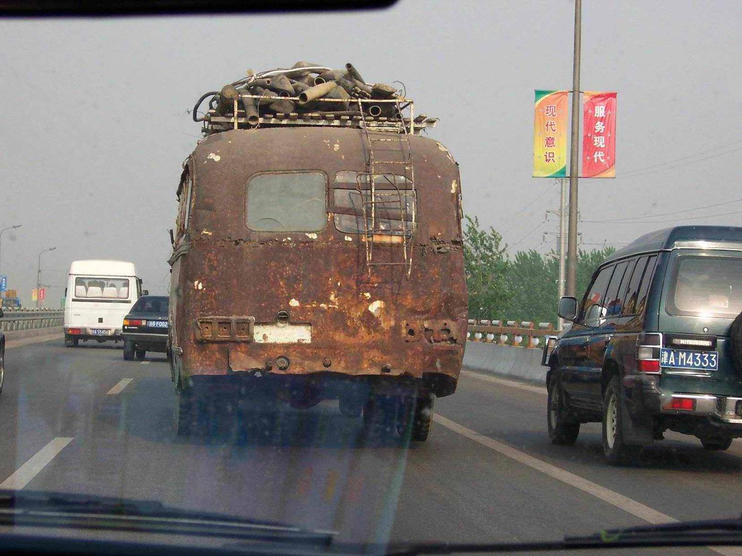 a cool bus hits the road, china funny pictures